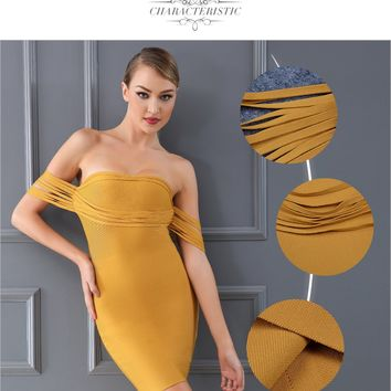 Bandage Dress Chic Yellow Off the Shoulder Casual Bodycon Dress