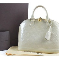 LOUIS VUITTON Alma PM Handbag Vernis Leather M91445 100% Auth From JAPAN