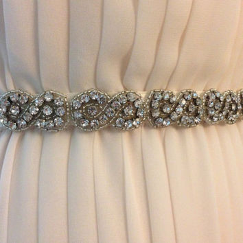 Figure Eight Motif Crystal Embellished Ivory Bridal Ribbon Sash