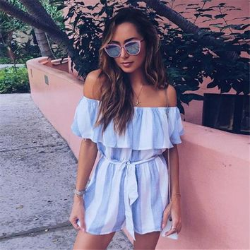 Casual Off Shoulder Floral Print Romper