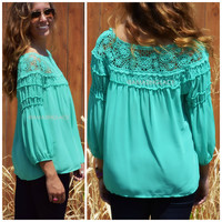 Beechmont Jade Crochet Detail Chiffon Top
