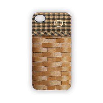 PERSONALIZED iPhone Case Wood Look Basket Longaberger Style Checks Picnic Rustic Woodland Outdoors Nature Country Earthy Natural Monogram