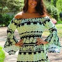 bright lights neon lime tunic dress off the shoulder