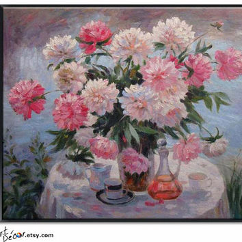 "24"" Floral Oil Painting, Impression Flower Oil On Linen Canvas, By Frank."