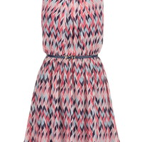 Multicolor Herringbone Dress With Belt - Multi