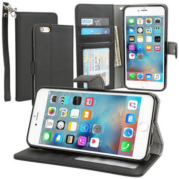 Evecase iPhone 6S Plus Case, Book Style Wallet Folio Leather Case with Credit Card ID Pockets, Stand & Strap for Apple iPhone 6S Plus / 6 Plus 5.5'' Screen Smartphone - Black