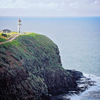 Lighthouse Photography - Kauai Fine Art Print - Historic Light House Wall Decor Photo - Scenic Hawaii - Blue Green