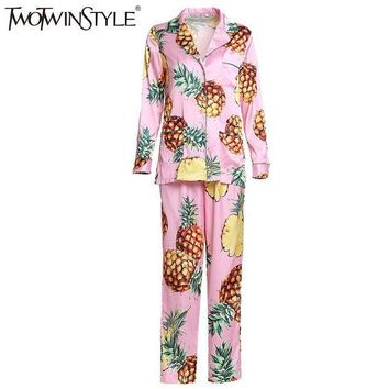 CREYCI7 TWOTWINSTYLE 2017 Adult Pajamas Women Onesuit Nightie Home Clothes Homewear Pineapple Printed Homesuit Sleepwear Costumes Fashion