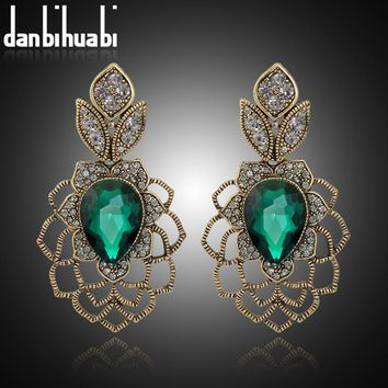 Danbihuabi Vintage long Earrings Antique gold green stone austrian crystal Drop Earrings For Women Indian wedding Jewelry