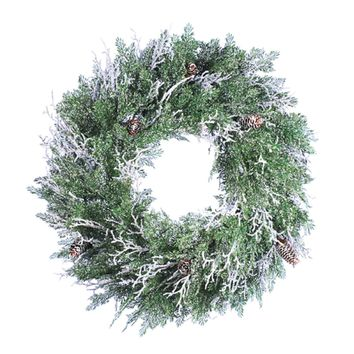 "24"" Frosted Cedar Artificial Christmas Twig Wreath With Pine Cones"