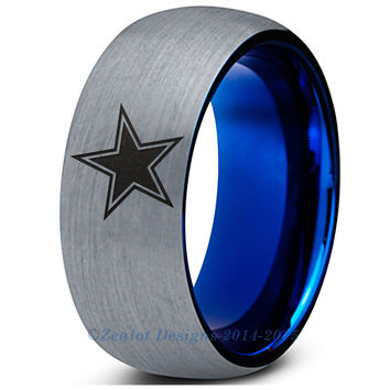 Cowboy Blue Tungsten Wedding Band Ring