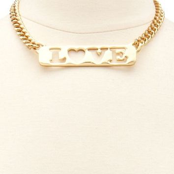 """LOVE"" ID TAG SHORT NECKLACE"