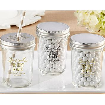 Personalized Printed Glass Mason Jar - The Hunt Is Over (Set of 12)