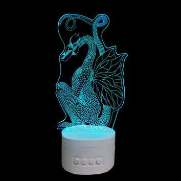 Sitting Dragon 3D LED Lamp Bluetooth Speaker