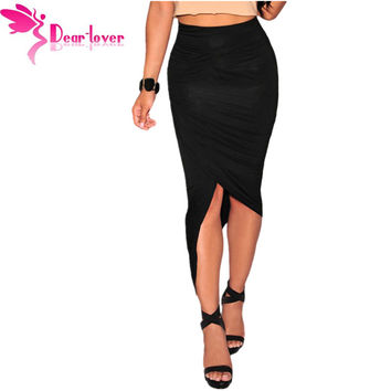 Dear Lover Summer Black Asymmetrical Draped Wrapped Skirts Sexy Bodycon Womens High Waist Skirt Fashion Saias Femininas  LC71133