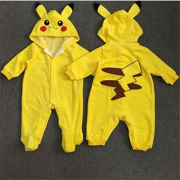 Androktones 2017 Children Pokemon Pikachu Dinosaur Onesuit Kids Girls Boys Warm Soft Animal Cosplay Pajamas Halloween Costumes
