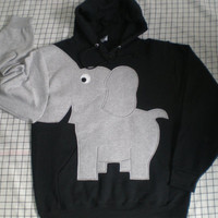 Elephant trunk sleeve HOODIE Black UNISEX MEDIUM
