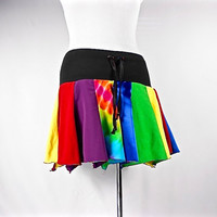 Rainbow Pride Skirt, Upcycled Clothing, Hippie Skirt, Hoop Skirt, Hippie Clothes, Bohemian Clothing, Short Skirt, Dance Skirt, Tie Dye Skirt