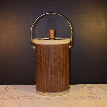 Kromex Ice Bucket Vintage Wood Grain Vinyl Chrome Details Insulated Faux Wood Ice Bucket Man Cave Mid Century Modern Barware Gifts for Him