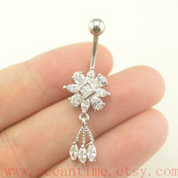 Belly Button jewelry, crystal flower Navel Jewelry, belly button rings,girlfriend gift,body piercing jewelry,oceantime