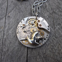 Clockpunk Steampunk Watch Movement Pendant Necklace, Waltham  Watch Movement on Silver Flat Cable Link Chain