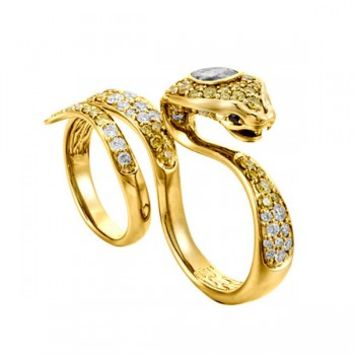 John Hardy Cinta Gold White & Yellow Diamond Two Finger Cobra Rings **TRUNK SHOW**