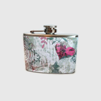 Stainless Steel Hip Flask with romantic vintage style wrap - fun retro - 4oz 6oz 2oz 1oz - vintage chic