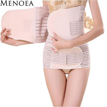 Menoea 2017 3 Pieces Set Maternity Postnatal Belt After Pregnancy bandage Belly Band waist corset Pregnant Women Slim Shapers