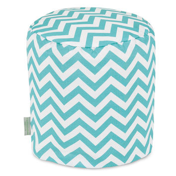 Teal Chevron Small Pouf