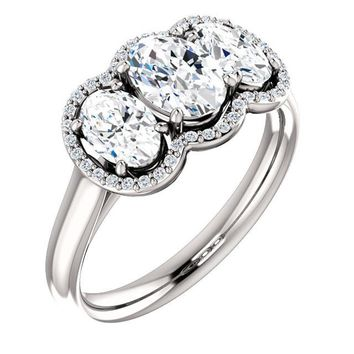 0.75 Ct Oval 3 Stone Ring 14k White Gold