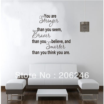 """Characters """"You Are Stronger Than You Seem"""" Vinyl Wall Sticker Art Decals Home Decor SM6"""