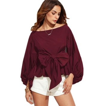 Women Tops and Fashion Long Sleeve Blouse Boat Neck Lantern Sleeve Bowknot