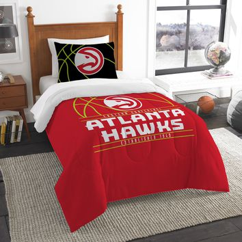 """Hawks OFFICIAL National Basketball Association, Bedding, """"Reverse Slam"""" Printed Twin Comforter (64""""x 86"""") & 1 Sham (24""""x 30"""") Set  by The Northwest Company"""