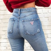 1981 Raw-Hem High-Rise Skinny Jeans at Guess