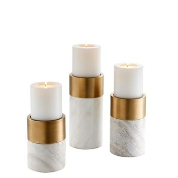 White Marble Candle Holder Set | Eichholtz Sierra