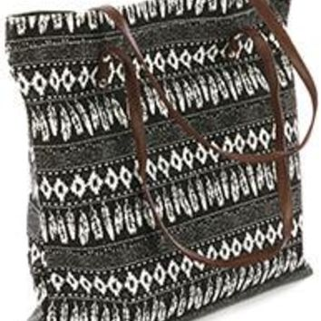 Large Feather Tribal BLACK /White Tote Bag Handbag Purse