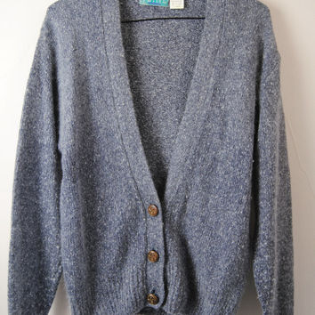 Vintage Silk Angora Cardigan, 80s Grey Blue Fuzzy Cardigan With Brass Buttons, Flecked Angora Wool Sweater
