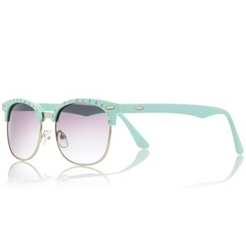 Girls mint green retro sunglasses