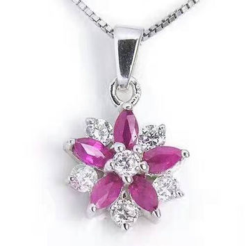 Precious Tiny Ruby Necklace - Delicate Sterling Silver Ruby Flower Pendant - Tin