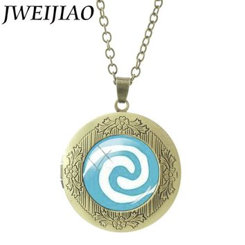 JWEIJIAO Glass Cabochon Princess Moana Locket Pendant Cartoon Movie Principessa Baby Maui Statement Necklace Jewelry CT01