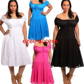 Women Plus Size On Off Shoulder Vintage Sty Victorian Pinup Summer Sun Dress 1-3