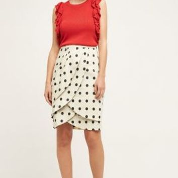 Eva Franco Polka-Dot Pencil Skirt in Black & White Size: