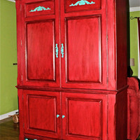 Red Armoire /TV Cabinet /Teal Accent Painted by AquaXpressions