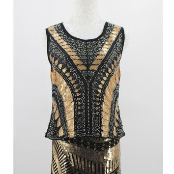 Summer Heavy Beaded Sequined O Neck Sleeveless Geometric Sleeveless Tank Top Stunning Vintage Black Gold Party Women Top