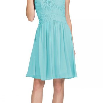 CLEARANCE - Starbox USA S6127 Sweetheart Neck Ruched Bodice Chiffon Tiffany Blue Knee Length Bridesmaids Dress (Size Small)