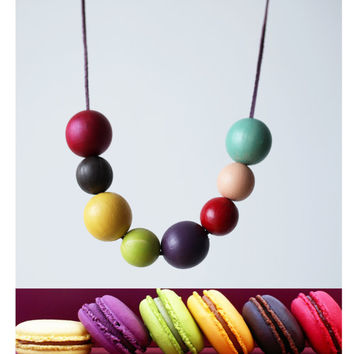 Macarons wood necklace, dark pink, purple, grass green, color block large bead necklace fashion, long leather cord