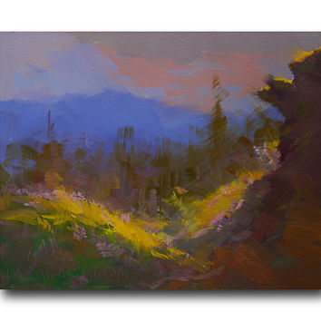 Abstract Landscape Painting - Evening in Mountains Painting -  Abstract Painting - Oil Painting Nature by Yuri Pysar