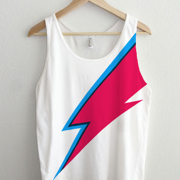 Bowie Lightning Bolt Face Paint Full Print Unisex Tank Top