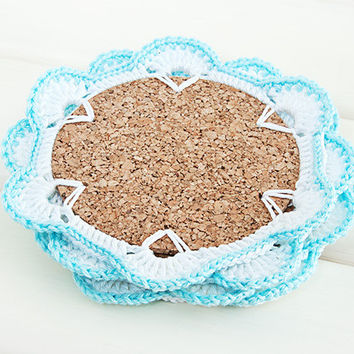 Crochet Coasters, Home Decor, Set of 4, White and Blue, Cork base