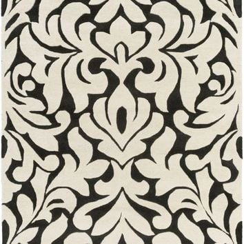 Modern Classics Medallions and Damas Area Rug Neutral, Black